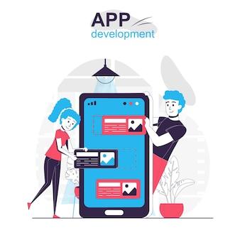 App development isolated cartoon concept developers team creates ui layout design for app
