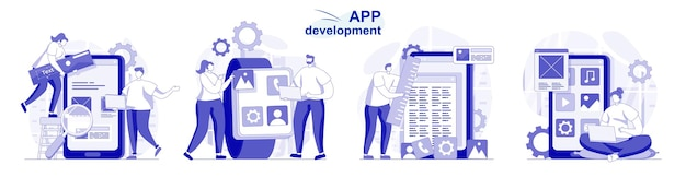 App development isolated set in flat design people program and develop software for mobile phone