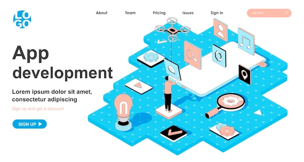 App development isometric concept in 3d design for landing page