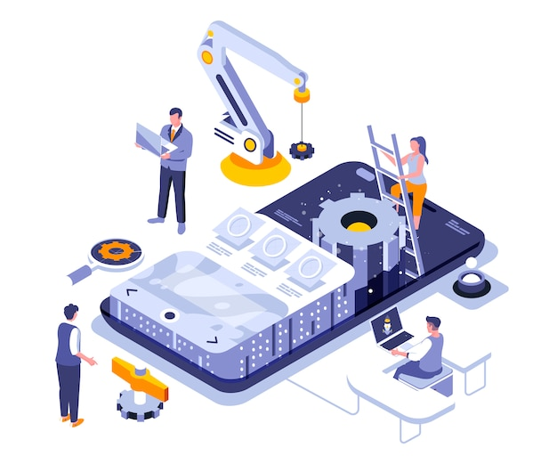 App development isometric    illustration template