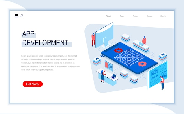 App development isometric landing page template.