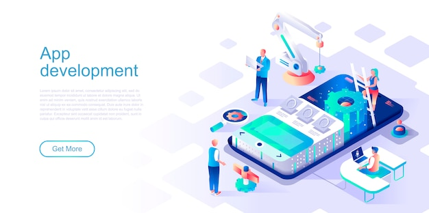 App development isometric landing page vector template.