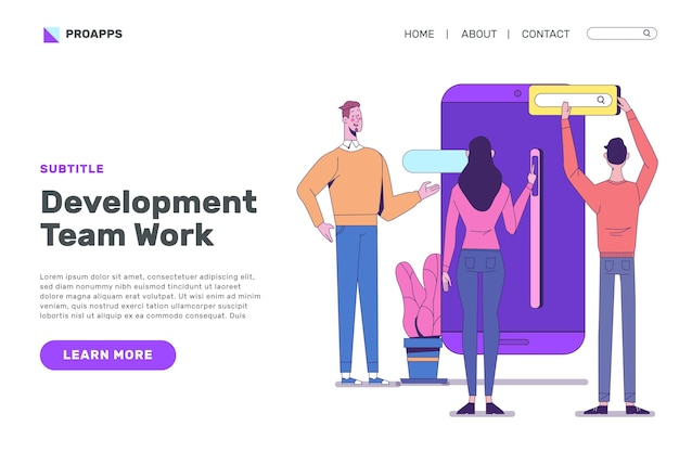 App development landing page design