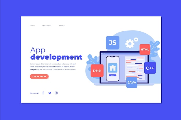 App development landing page template with phone and laptop