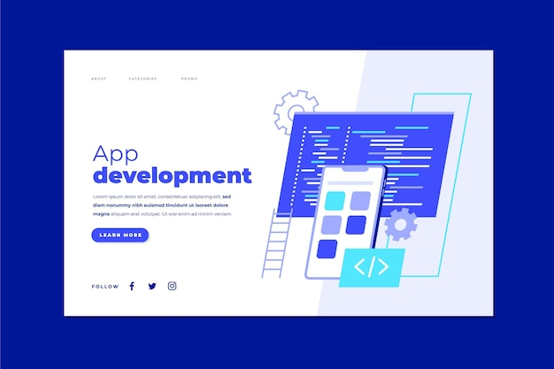 アプリ開発ランディングページテンプレート