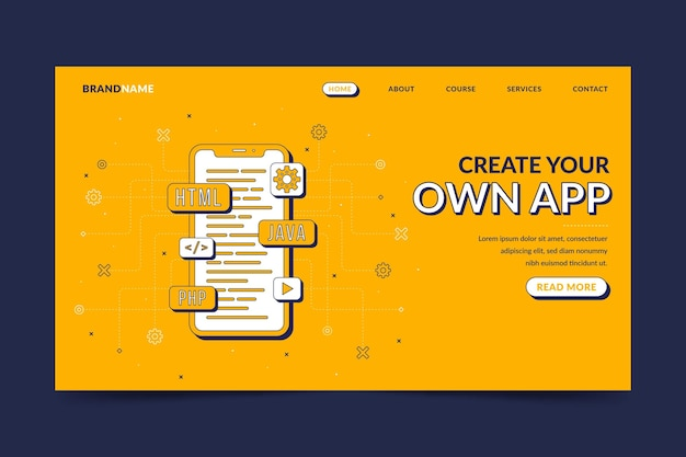 App development landing page with illustrations