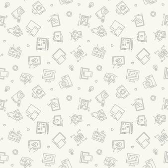 App development minimal outline seamless pattern