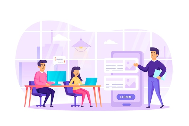 App development at office flat design concept with people characters scene