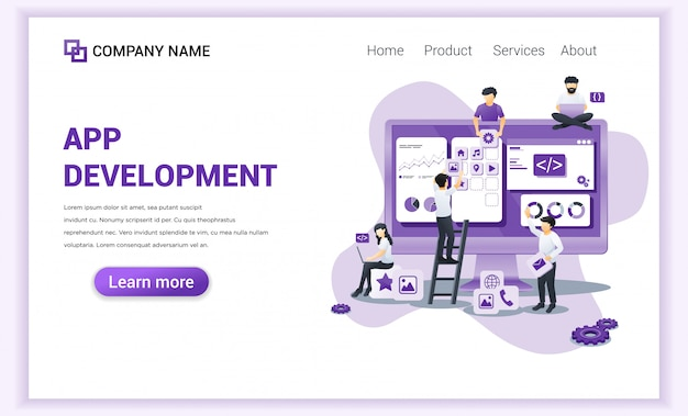 App development, programmers landing page.