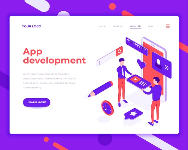 App development teamwork people and interact with mobile phone isometric vector illustration