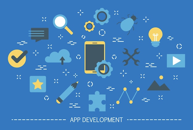 App development web banner. support and development team