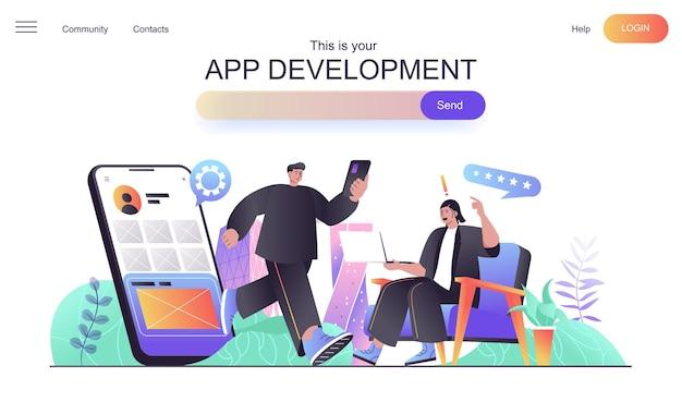App development web concept for landing page