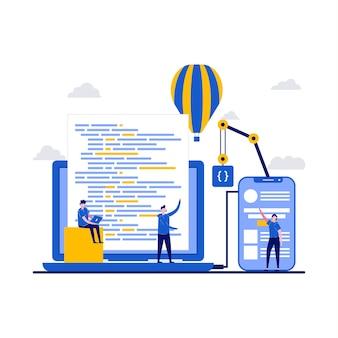 Разработка приложений с программистом, программирующим код на ноутбуке и экране мобильного телефона для вывода на рынок нового продукта в плоском дизайне