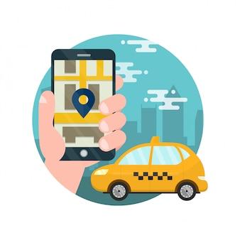 タクシーのアプリ。男は、スマートフォンで手を握っています。タクシーを呼び出すためのアプリケーション。