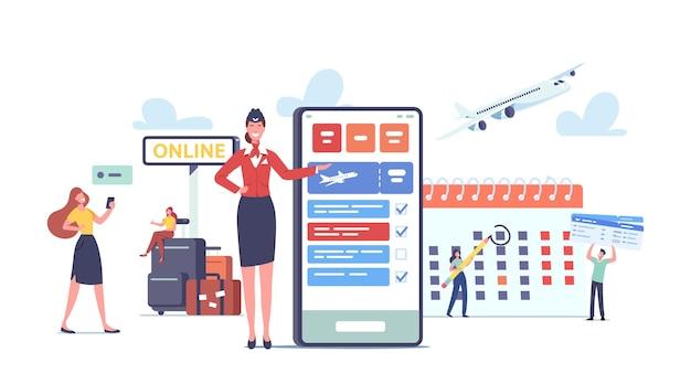 관광객 개념을 위한 앱. 행복한 캐릭터는 휴대 전화를 사용하여 여행 예약 비행기 티켓을 갑니다. 여행 애플리케이션이 있는 거대한 휴대폰 근처에 수하물이 있는 승객. 만화 사람들 벡터 일러스트 레이 션