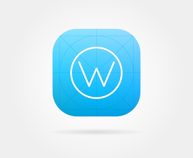 App icon template with guidelines.  fresh colour