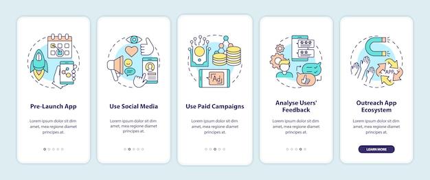 Советы по маркетингу приложений по адаптации экрана страницы мобильного приложения с концепциями