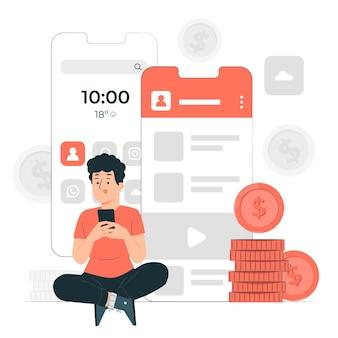 Illustrazione del concetto di monetizzazione dell'app