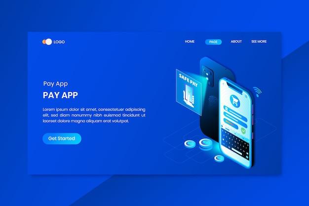 アプリペイオンラインアイソメトリックコンセプトランディングページ