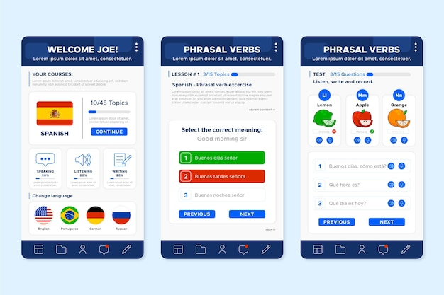 App screens to learn languages