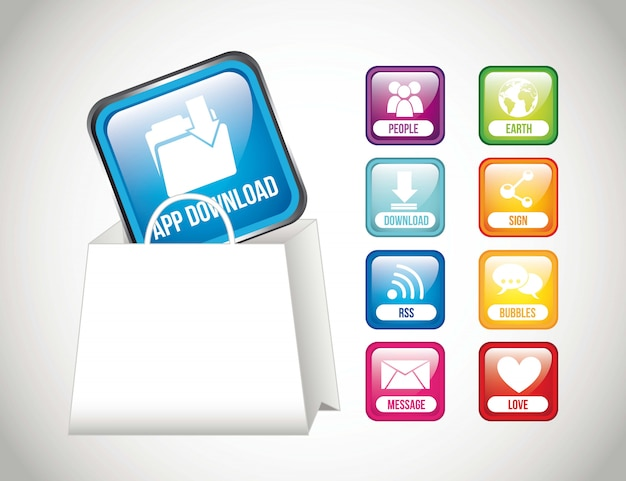 App store buttons with shopping bag vector illustration