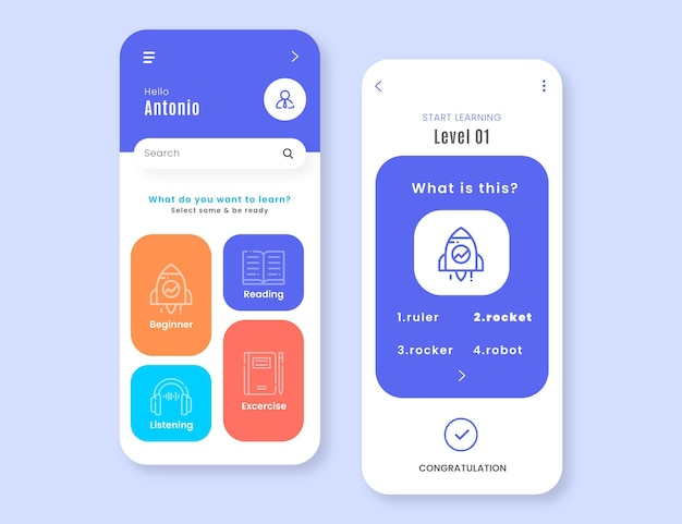 새로운 언어 학습을위한 앱 템플릿