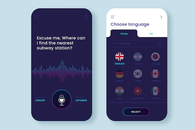 声を翻訳するためのアプリテンプレート