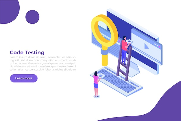 App tester software or application testing  isometric vector concept