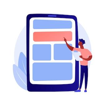 アプリのテストと最適化。 uxデザイナー、開発者、スマートフォンのインターフェース。女性の漫画のキャラクタープログラミング携帯電話アプリケーションの概念図