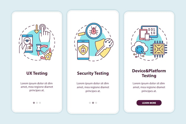 App testing components onboarding mobile app page screen with concepts