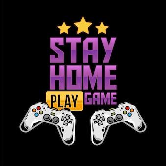 Печатный дизайн одежды для геймеров и компьютерных фанатов с двумя джойстиками-геймпадами для видеоигр и сообщением в стиле карантинной изоляции «оставайся дома и играй в игру»