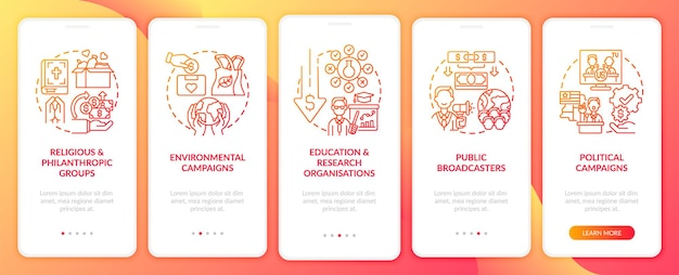 Appeal for funds types onboarding mobile app page screen