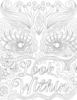 Appealing eyes line drawing behind the positive letter message written look within. beautiful drawing of half face backside of inspirational vibe note.