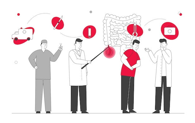 Appendix pain and appendicitis disease concept.