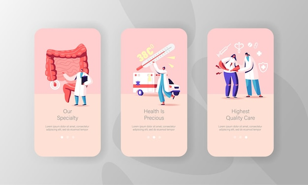 Appendix treatment mobile app page onboard screen template.
