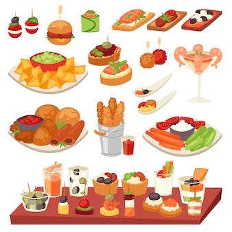 前菜食欲をそそる食べ物とスナックの食事またはスターターとカナッペのイラスト