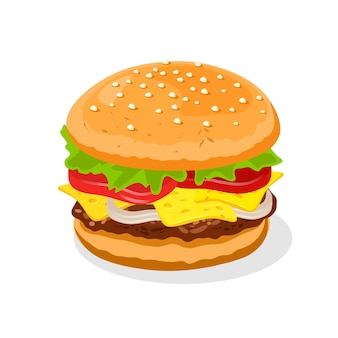 Appetizing big double cheeseburger with beef patties or steak, cheese, tomatoes.