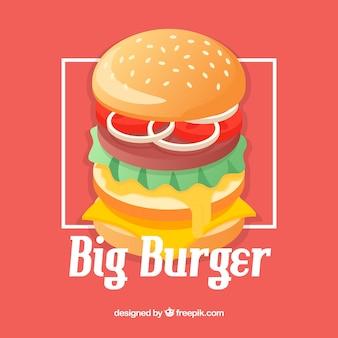 フラットデザインの食欲をそそるハンバーガー