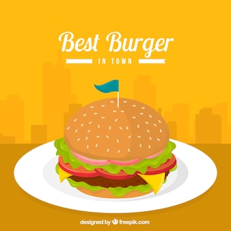 Appetizing burger with cheese and lettuce
