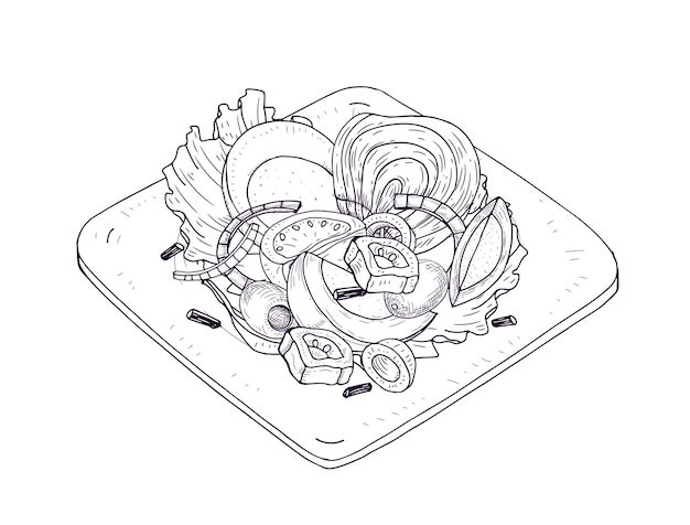 Appetizing salad with vegetables and fish on plate hand drawn with contour lines on white
