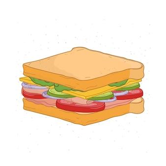 白で隔離の食欲をそそるサンドイッチ