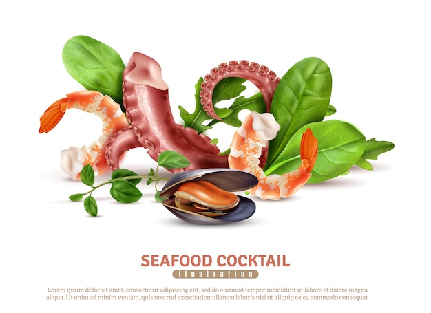 Аппетитные морепродукты коктейль ингредиенты крупным планом реалистичная композиция плакат с креветками осьминога щупальцами мидии листья базилика