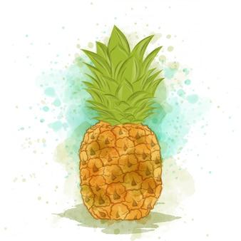 Appetizing watercolor pineapple