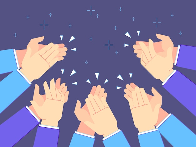 Applause hands. hand claps, applauding congratulations and success clapping  illustration