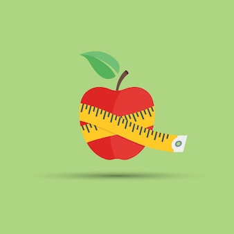 피트니스 및 건강 식품 주제에 대한 녹색 배경에 사과와 센티미터 그림