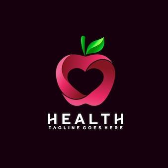 건강한 삶을 위한 애플과 사랑 로고 디자인