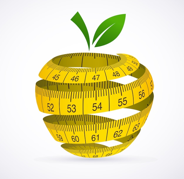 リンゴと巻尺、ダイエットのシンボル。図