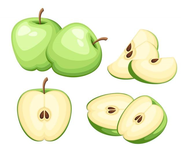 リンゴとリンゴのスライス。リンゴのイラスト。装飾的なポスター、エンブレム天然物、ファーマーズマーケットのイラスト。ウェブサイトページとモバイルアプリ