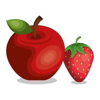 Apple and strawberry icon vector illustration design