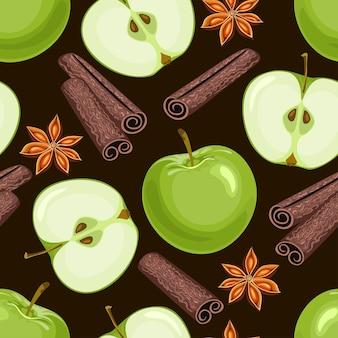 Apple, anise stars, cinnamon sticks seamless pattern dark background.